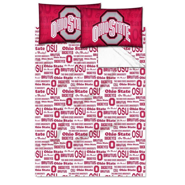 NCAA COL Ohio State Buckeyes Columbus Anthem Full Sheet Set Red Gray Sports Patterned Bedding Team Logo Ohio State Merchandise Team Spirit College