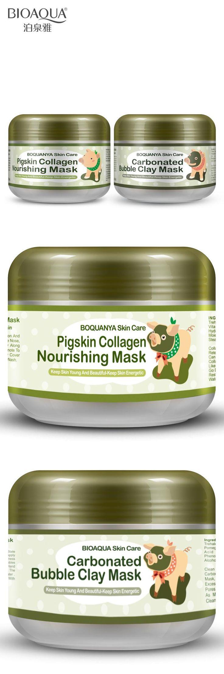 [Visit to Buy] BIOAQUA 2PCS/lot little Pig Pigskin Collagen Nourishing Mask Carbonated Bubble Clay Mask Moisturizing Brighten Skin Care Set #Advertisement