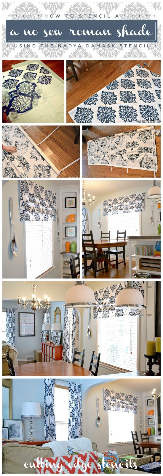 25 unique damask stencil ideas on pinterest gold damask learn how to stencil your own no sew roman shades using the nadya damask stencil amipublicfo Gallery