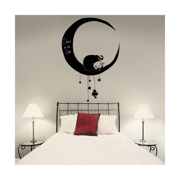 Vinilo decorativo de un gato durmiendo en la Luna / Decoravie vinyl of a car sleeping on the Moon