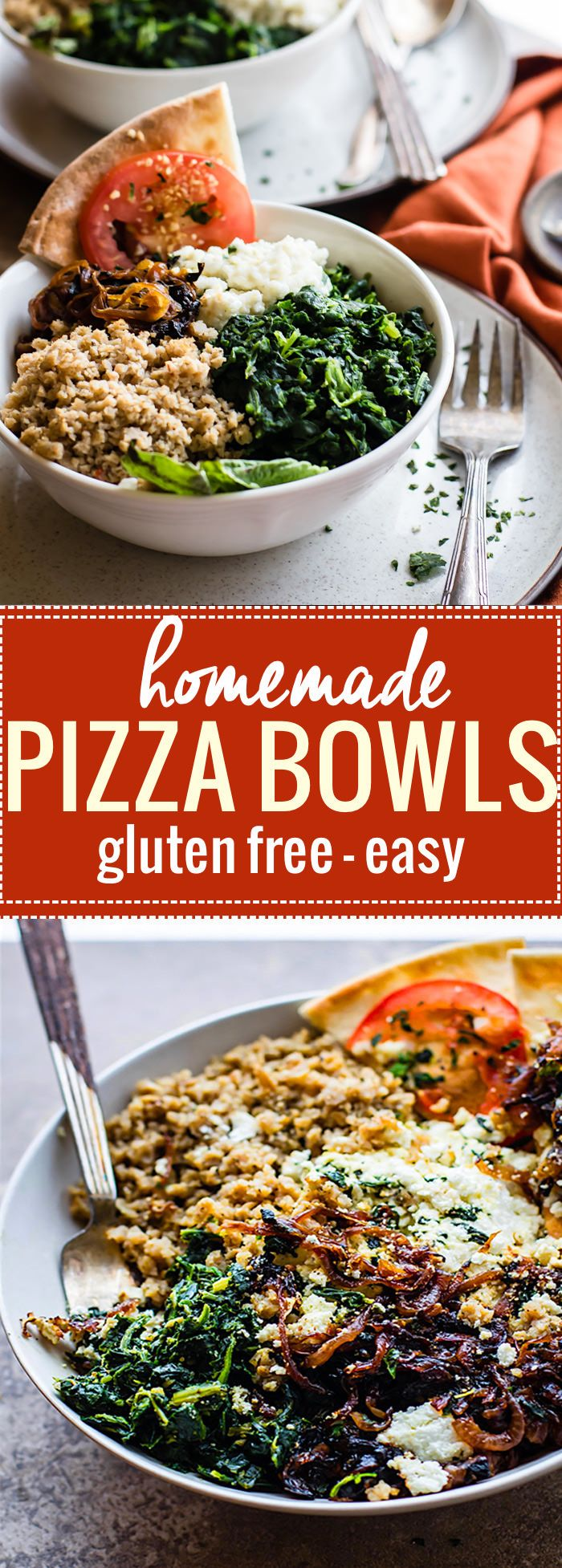 Gluten Free Homemade Pizza Bowls! These Easy homemade Pizza Bowls are a super fun way to share and customize pizza. Just fill it with all your favorite gourmet pizza toppings! Caramelized onion, goat cheese, spinach, and more. Healthy, easy, delish!! www.cottercrunch.com @cottercrunch.