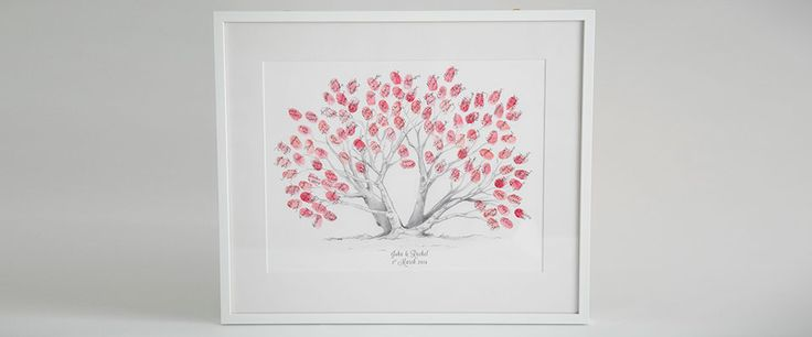 Hand drawn style Pohutukawa fingerprint guestbook. New Zealand's iconic tree which is now one of our most popular designs.