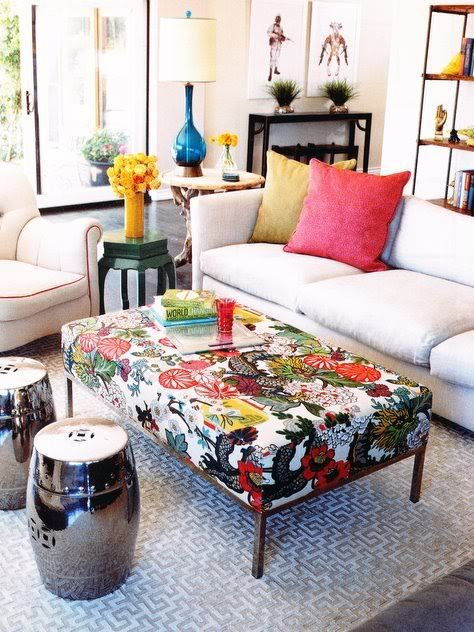 Coffee Table- point of interest, bring color scheme together in patterned fabric