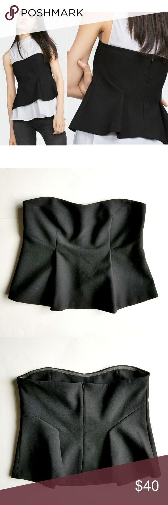 Zara Peplum Bustier Top Slik black bustier top, to wear by itself or on top of a shirt as in picture. Unlined, side zipper closure, silicone strip for better grip. Easy to dress up or down for any occasion. Zara Tops Blouses