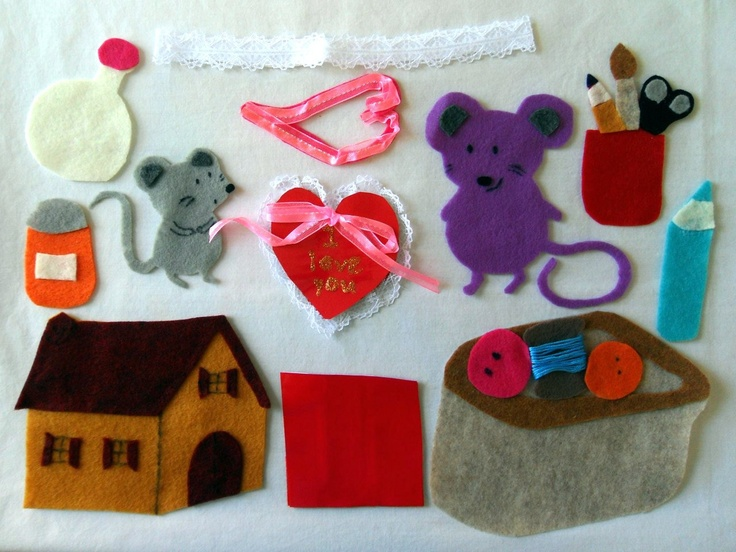 MOUSE'S FIRST VALENTINE Lauren Thompson Multi-Texture Felt Flannel Board Story Set - Ready to Ship. $20.00, via Etsy.