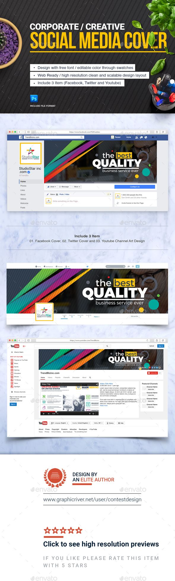 Social Media Cover (Facebook, #Twitter and Youtube Channel Art) Template - #Social Media Web Elements