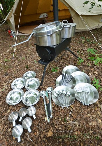 Stainless steel camping kitchen cook set. Everything packs together. I want one! If only it was available in South Africa...