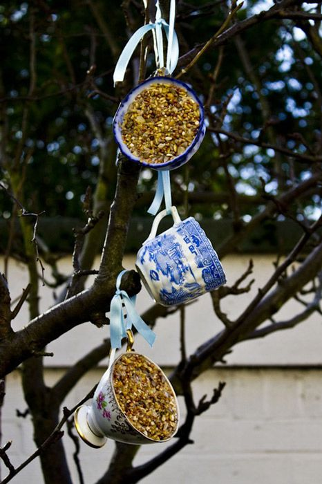 Homemade Teacup Bird-Feeder... fill with your own suet mix...