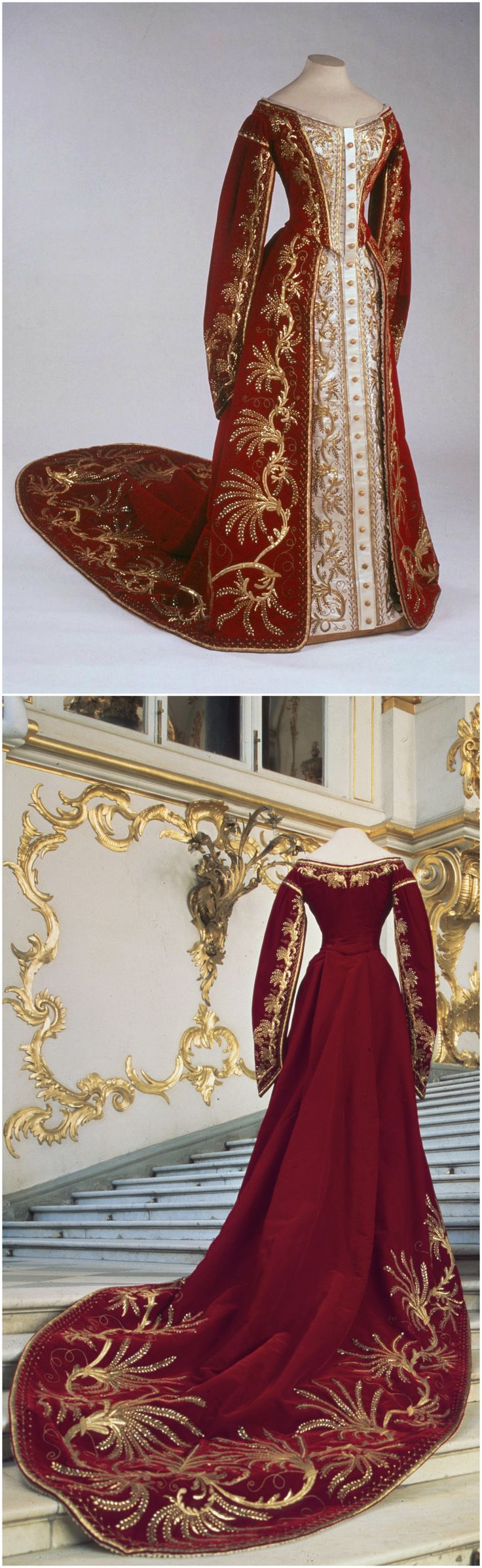 Ceremonial court dress of a maid of honor to the Empress of Russia, Studio of Izambard Chanceau, embroidery studio of A. Laman, 1880-90. Velvet, satin, gold embroidery. Bottom photo by Herman van Heusden, styling: Ruud van der Neut. State Hermitage Museum, St. Petersburg. Link: http://www.hermitagemuseum.org/wps/portal/hermitage/digital-collection/08.+Applied+Arts/1263415/?lng=ru. CLICK THROUGH FOR VERY LARGE IMAGES.