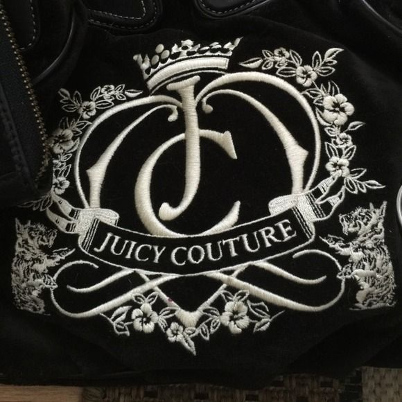 100% authentic juicy couture bag and wallet Used only once ! In brand new shape black velvet juicy couture bag and matching wallet Juicy Couture Bags