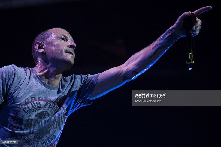 Chester Bennington lead singer of American Band Linkin Park sings during a show as part of of The Hunting Party Tour at Arena Ciudad de Mexico on June 23, 2015 in Mexico City, Mexico.