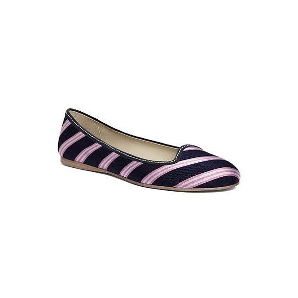 Brooks Brothers Silk Tie Striped Ballet Flat ($67) ❤ liked on Polyvore featuring shoes, flats, brooks brothers, stripe, ballet shoes, flat ballet pumps, ballet pumps, ballerina flat shoes and ballet flats