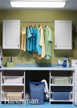 Don't overlook the utility areas of the home, a Laundry Center keeps things neat and adds big appeal for low cost. Reuse items from elsewhere in the home or from friends and family such as a folding table, old cupboards from a kitchen remodel (with a new coat of paint) and a an old countertop.....or see what your local DIY/kitchen stores have in end of stock or returned cabinets and countertops.