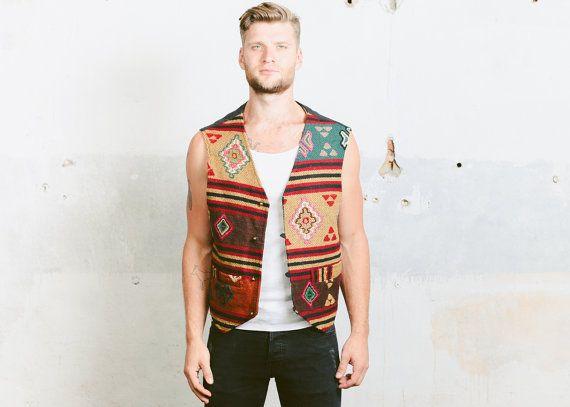Vintage AZTEC Vest. Mens gedrukt geweven zuidwestelijke vest zonder mouwen jas jaren 1980 Himalaya Nepal handgemaakte Vest. Groot voor XL