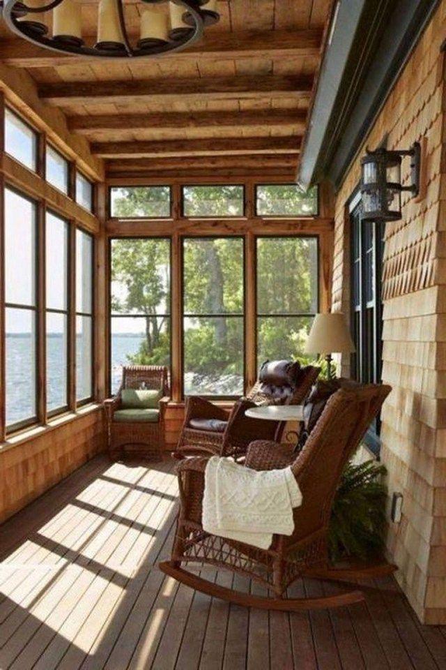 56 Beautiful Rustic Farmhouse Style Porch Decorating Ideas Rustic Porch Log Cabin Decor Lakehouse Decor