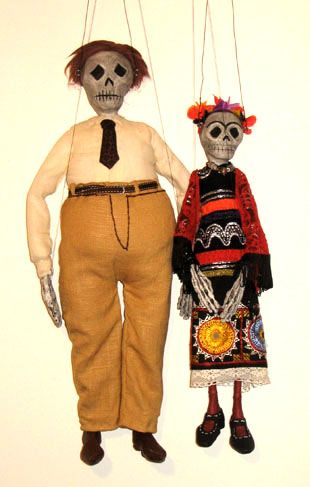 "Frida and Diego, Scull puppets for ""Día de los muertos"""