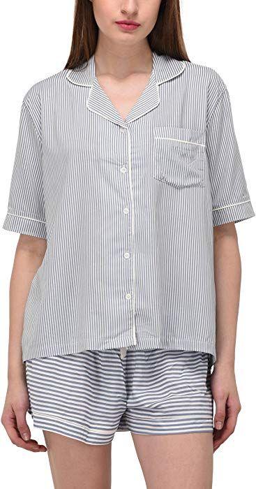 429bd3084b VDRNY Women's Sleepwear 2 Pc Short Sleeve Pajama Notch Collar Shorts Set/ Pajama (Blue Stripe, S) at Amazon Women's Clothing store: | Products I Love  ...