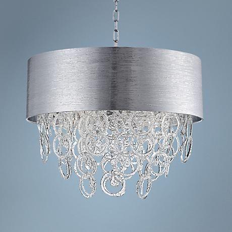 """Eurofase Jura Silver 23 1/2"""" Wide Fracco Glass Chandelier"""