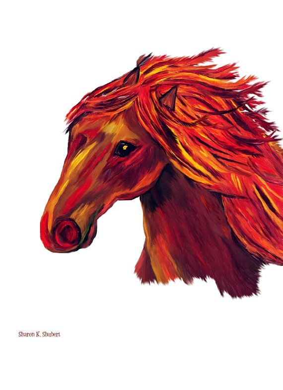 Horse Painting Native American Wall Decor Mixed by GrayWolfGallery, $25.00