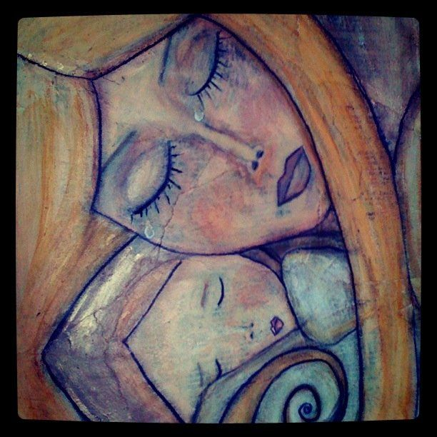 Original Mixed Media #Painting by Angela DiGiovanni: * Mother Needs Baby As Much As Baby Needs Mother *