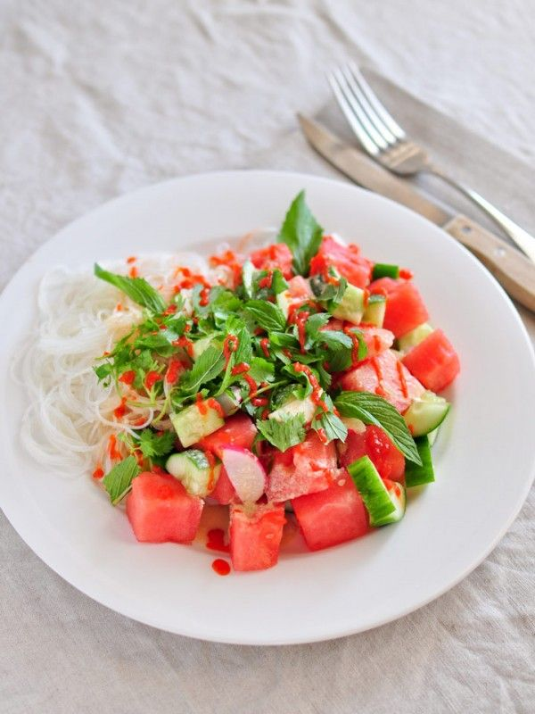 Watermelon Cucumber Salad with Tahini, Coconut, and Lime Dressing
