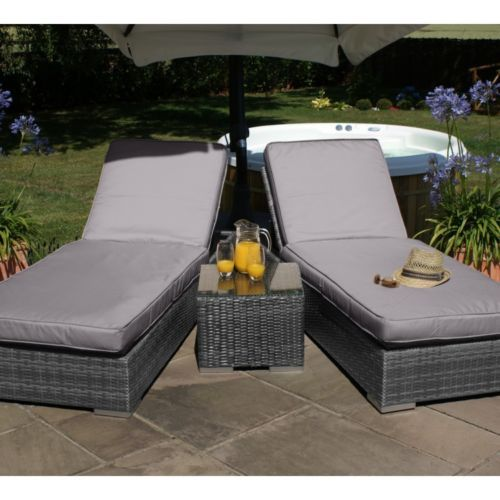 rattan outdoor garden furniture grey dawson sun lounger pair with cushions