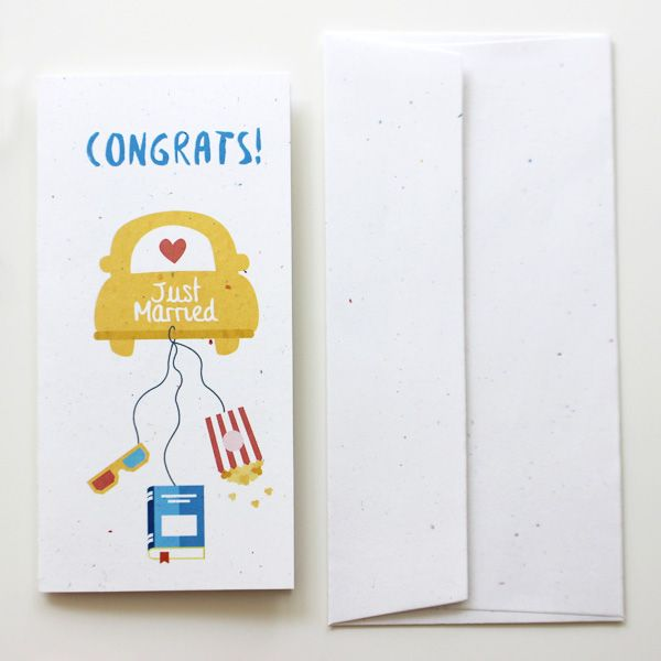 Just Married Card for Books and Movie Lover  | Varró Joanna Design | Handmade Wedding | Weddings | Wedding Ideas | DIY | Graphic Design | Inspiration | Graphic Designer