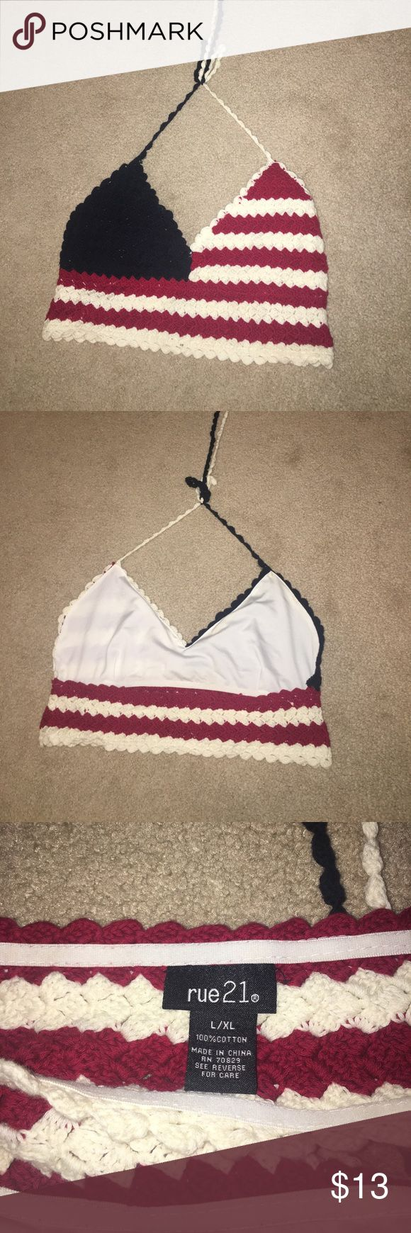 Crochet American Flag Crop From Rue 21, worn once, perfect for the forth of July! Be sure to bundle! Can ship quickly! Rue 21 Tops Crop Tops