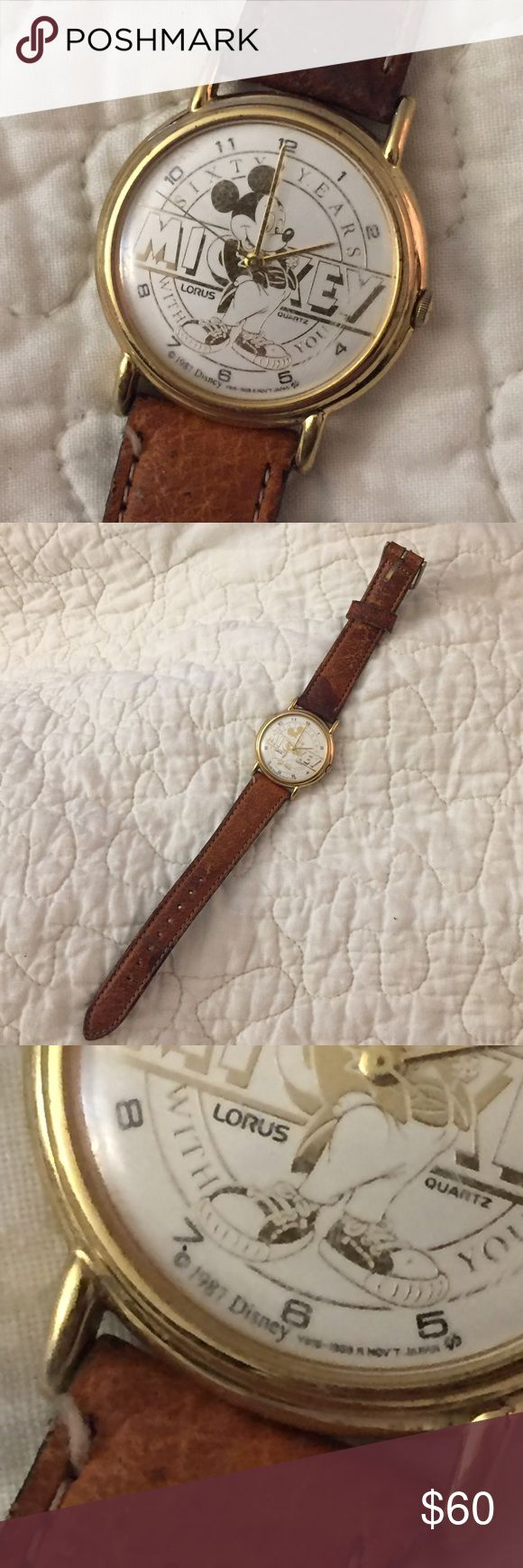 Vintage 60th Anniversary Lorus Mickey Mouse Watch This is a very rare 1987 60 years anniversary Mickey Mouse Disney watch. WORKING NEW BATTERY Lorus Accessories Watches