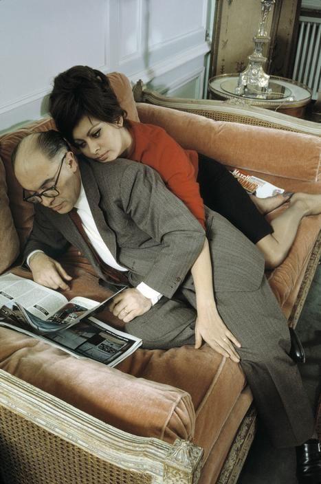 Burt Glinn 1963. Sophia LOREN with her husband Carlo PONTI.