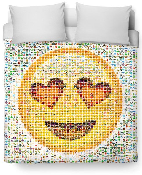 Check out this vibrant Emoji Duvet Cover featuring a photographic mosaic of the cute emoticons that have taken over our texting and internet lives! This fully-s