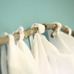 DIY branch curtain rod - super cute and FREE!