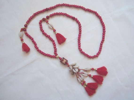 TASSEL NECKLACE with red wood beads. RED by ExtravaganzaBali