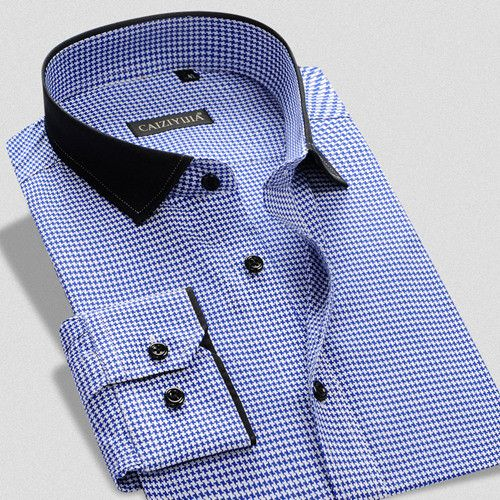 CAIZIYIJIA 2016 Men's Casual Business Slim 100% Cotton Shirt with Long Sleeve and Square Collar and Small Plaid Contrast Color