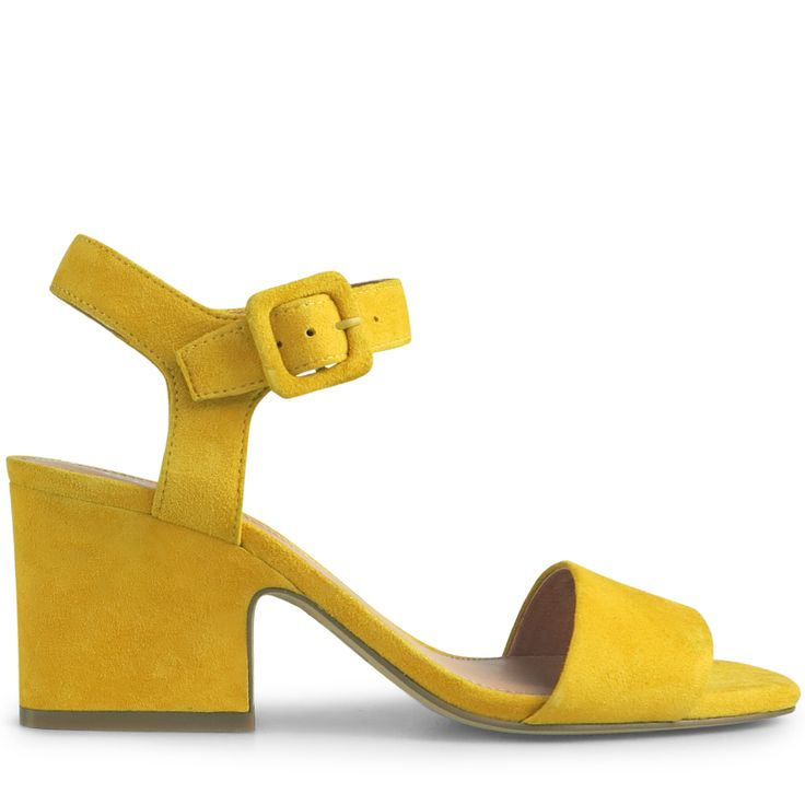 Crafted from stunning yellow suede, these simply modern sandals are a classic silhouette with a geometric twist. With its 7.5cm* wedge style block heel, and bold splash of colour, Chica is the perfect heel for the girl on the go.   Leather Upper Leathe