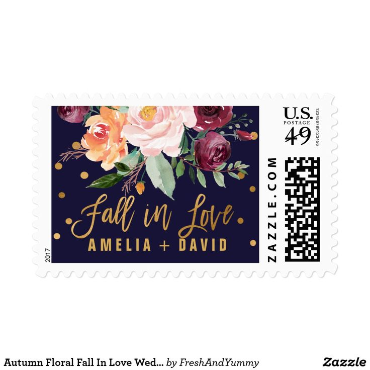 "Autumn Floral Fall In Love Wedding Postage These autumn floral ""fall in love"" wedding postage stamps are perfect for a fall wedding. The design features a stunning bouquet of blush, orange peach, and marsala burgundy flowers with faux gold foil typography and confetti. Personalize the stamps with the name of the bride and groom. Please Note: This design does not feature real gold foil. It is a high quality graphic made to look like gold foil."
