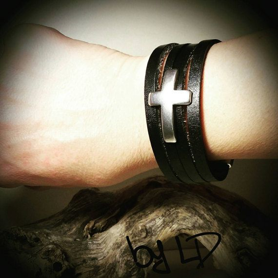 Check out this item in my Etsy shop https://www.etsy.com/listing/484294640/cross-leather-bracelet-in-black-with