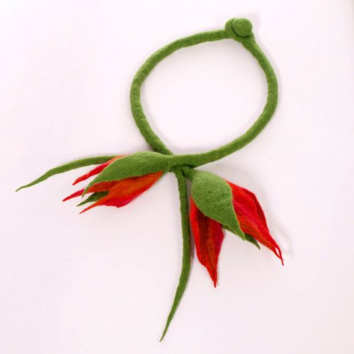 Felt necklace flowers merino wool green red by EsartFelt on Etsy, $41.00