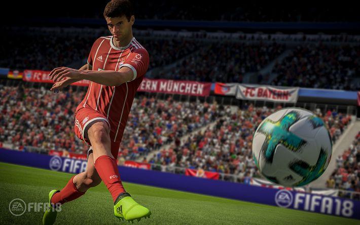 Descargar fondos de pantalla La FIFA 18, Thomas Muller, 4k de 2017, juegos, simulador de fútbol, FIFA18, de EA SPORTS, FIFA