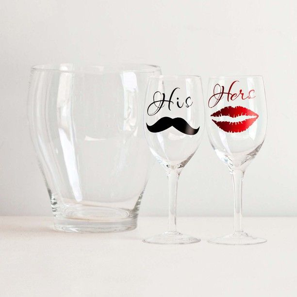his and hers wine glasses and ice bucket