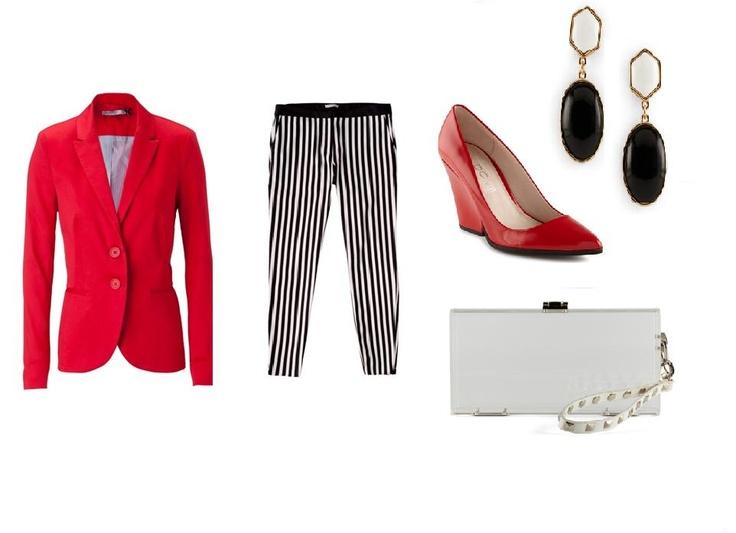 En rojo y negro. Un outfit ideal para el trabajo. Es juvenil, a la moda y formal.  Blazer rojo, de Stradivarius. Pantalón a rayas, de Pull & Bear. Zapatos de charol y tacón grueso, aretes de piedras negras, y cartera tipo clutch, de Aldo Shoes. Por: Katya Renderos.