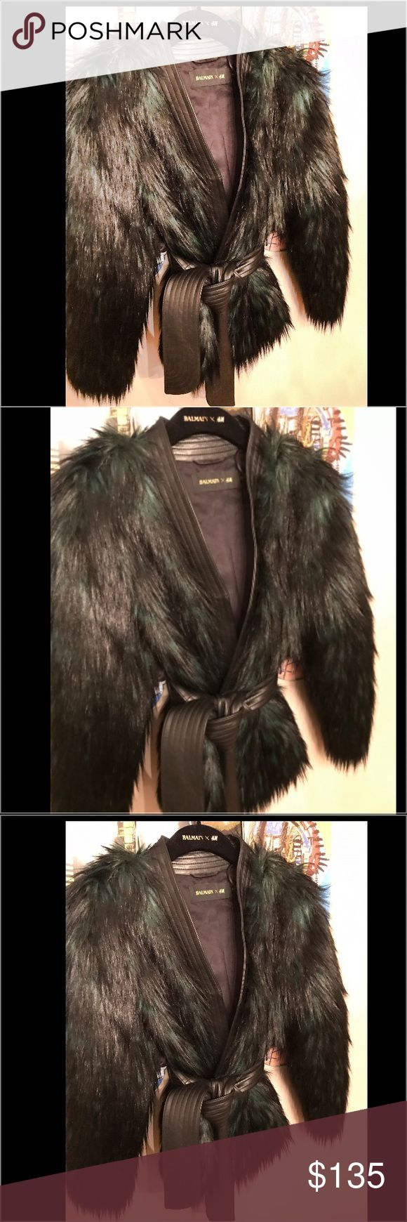 Balmain H&M faux fur jacket with Belt size 8🔥🔥 Green/black fur, size 8 never worn brand new ships with Balmain for H&M dust Bag....I purchased 1 too many things from this sale, so some of it has to go...don't miss out! 🔥🔥🔥🔥🔥 Balmian H&M Jackets & Coats