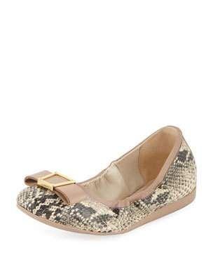 9dd8fb6989e X4ATB Cole Haan Emory Snake-Print Bow Ballet Flats