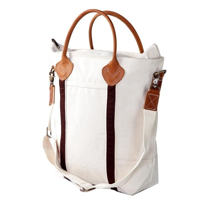 Ivory & Black Tote with Tan Trim
