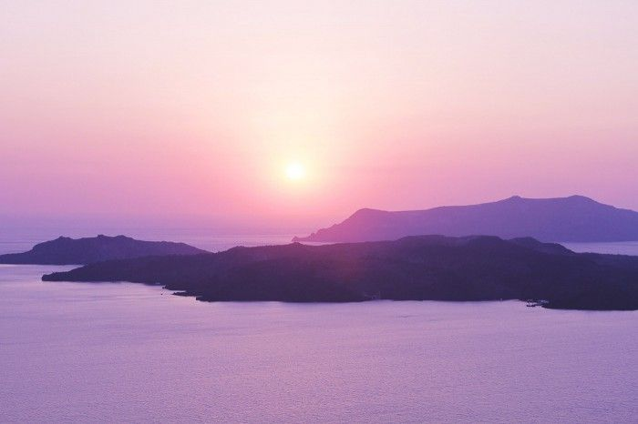 Sunset view from Petit Palace Hotel, Santorini, Greece