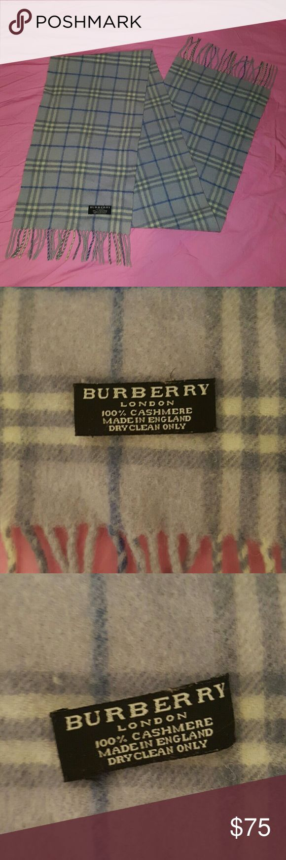 Classic Burberry Scarf Beautiful Burberry Scarf, unique powder blue colors. Its about 2 years old but in great condition. My sis bought it at Bloomindales and then gave it to me.No stains or rips. Only thing is the label is disattatched on the left side, easy fix. No cards or box. 100% cashmere 100% Authentic!! Burberry Accessories Scarves & Wraps
