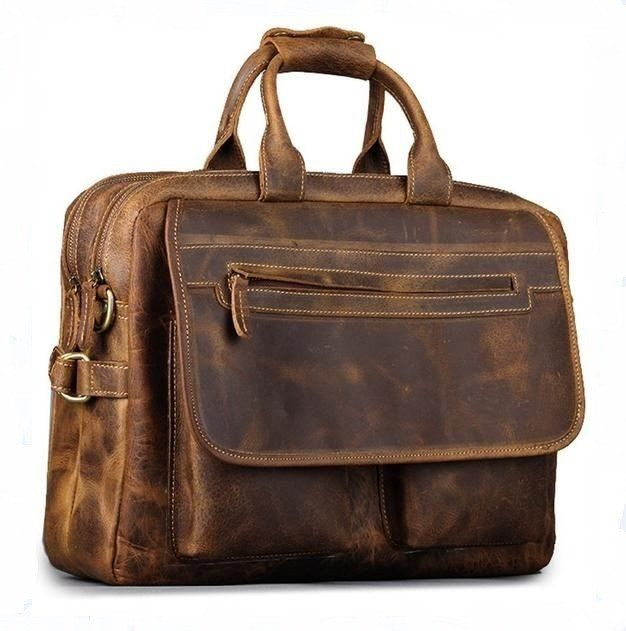 "Men's Leather Messenger Briefcase Crazy Horse Leather - 16"" Laptop"