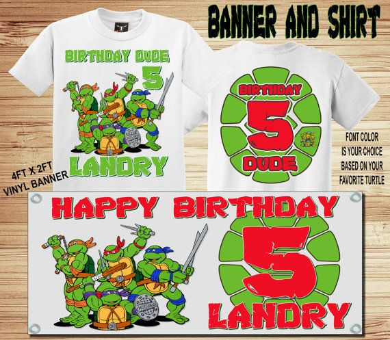 Bandera y camiseta Combo TMNT cumpleaños por ForgetMeNotShoppeXO