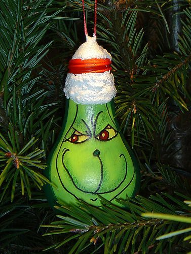 grinch ornament from recycled lightbulb