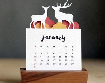 2016 Minimalist Paper Cut Desk Calendar with Solid by PurnaProject
